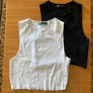 Zara crop top black and white